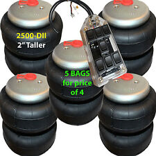 """set of 5 air ride springs lift bags 2"""" Taller 2500 D-II  1/2"""" Fittings 7-Switch"""