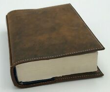 Distressed Leather Bible Book Cover Sleeve Pockets Handle Custom Case Amish Made