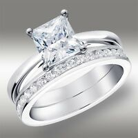 2.02 CT Princess Cut Engagement Ring & Wedding Band Lab Diamond 14K White Gold