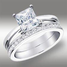 2.02 CT Princess Cut Engagement Ring & Wedding Band Lab Diamond 14K White Gold