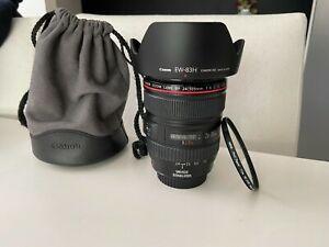 Canon EF 24-105mm f/4.0 IS USM L series Camera Lens + 77mm Hoya filter & hood