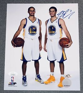 Seth Curry signed Warriors auto 8x10 autographed photo w/ Stephen Curry JSA COA