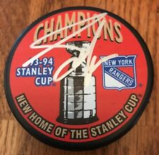 ADAM GRAVES Signed NY Rangers 1994 Stanley Cup Hockey Puck With Hologram COA