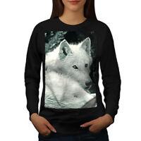 Wellcoda White Wolf Look Womens Sweatshirt, Danger Dog Casual Pullover Jumper