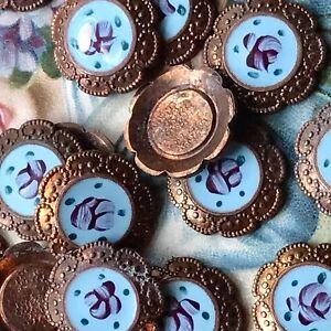 Vintage enamel Findings,Cabochons,Guilloche Cabochons,Blue Rose Copper NOS #G85C