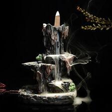 Ceramic Mountain Waterfall Smoke Backflow Incense Burner Holder With 10 Cones