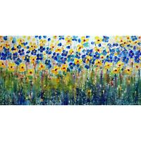 Forget Me Not Daisy Abstract Wildflowers Blue Yellow White Impasto Textured Art