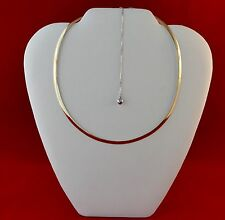 """14KT Solid Yellow And White Gold Reversible Omega Necklace 16"""" 13 Grams"""