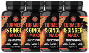 All Natural Turmeric Ginger Maxx, Reduce Anti Inflammation and Joint Pain, 4-PK
