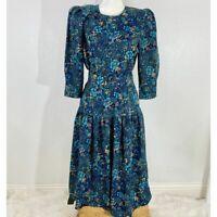 Vintage Pellini Von Bramlett Secretary Floral Dress Average 7/8