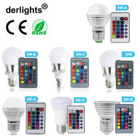 E27/E14 RGB LED Bulb Light Lamp 3W 5W 10W 16 Colors Change +IR Remote Controller
