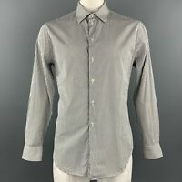 EMPORIO ARMANI Size L Black & White Stripe Cotton Button Up Long Sleeve Shirt