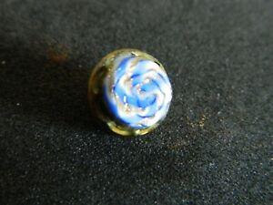 Antique BLUE Glass w Blue Gold Swirl Design Waistcoat CharmString Button Glass