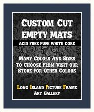 Navy Matting Mat Board for Picture Frame Pre-Cut Opening White Core Small Sizes