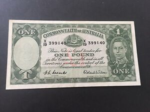 1 pound Coombs/Wilson 1952 KGVI , aEF nice banknote CV=$250
