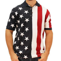 Mens Patriotic Polo American Flag Shirt in Classic USA Colors Red, White, & Blue