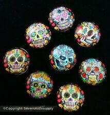 8 SKULLS Day of the dead 14mmx5mm  multicolored domed cabochons gems gbs074