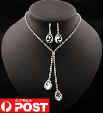 Silver Faux Rhinestone Crystal Teardrop Necklace & Earrings Party Wedding Set
