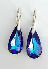 Kristall Ohrringe 925 Silber mit Swarovski Elements Tropfen Blau Lila