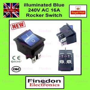 Blue 4 Pin DPST ON/OFF Illuminated Rocker Switch AC 250V 16A UK Seller