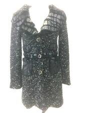 Keke Collection L Black White Coat Jacket  Funky Art to Wear