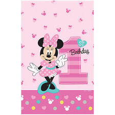 "96"" x 54"" Disney Fun One Minnie Mouse 1st Birthday Party Plastic Table Cover"