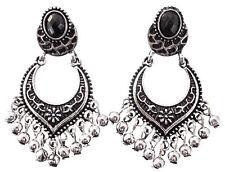 Black Stone Earrings Silver Flower Dangle Festival Boho Drop Stud Fashion Womens