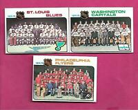 1975-76 TOPPS FLYERS + CAPITALS + BLUES  UNMARKED TEAM CHECKLIST (INV# C3975)