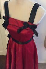 Hell Bunny Small Red Dress Rockabilly 50's Style Prom Punk Tattoo Print Retro