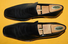 MEN'S HUGO BOSS BLACK GENUINE LEATHER APRON TOE SLIP ON LOAFERS SHOES SIZE 11.5.
