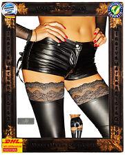 Schwarze Shorts F138 Noir Handmade Wetlook Diva dehnbar Reissverschluß Sexy