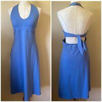 Patagonia Blue Nylon Stretch Dress L Large 12 14 Halter Tie Back Women's MINT