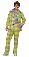 Mens Plaid Leisure Suit Costume 70's Lounge Lizard Cosplay Adult Size Standard