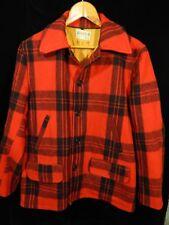 Vintage Men's Soo Red/Black Plaid Button Down Coat Size 40; EUC