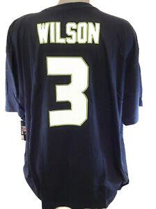 Mens NFL B&T Football Majestic Seattle Seahawks Russell Wilson #3 Tee T-Shirt