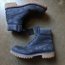 """Men's Timberland 6"""" Inch Premium Waterproof Navy Blue Suede Lace Up Boots Sz 8 M"""