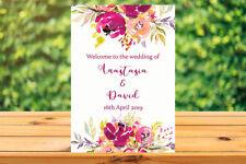 Printable Custom Personalised Wedding WELCOME SIGN rustic floral pink