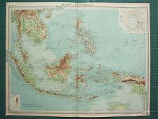 1921 LARGE MAP ~ MALY ARCHIPELAGO ~ SUMATRA BORENO PHILIPPINE SIAM CELEBES