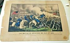 THE BATTLE OF ANTIETAM MD 1862 ORIGINAL CURRIER IVES LITHOGRAPH