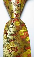 New Classic Floral Gold Yellow Brown JACQUARD WOVEN 100% Silk Men's Tie Necktie