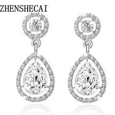 Largo Pendientes de Cristal Novia Diamante Imitación Imitacion Plata Colgante