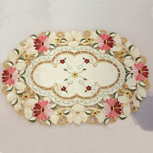 4pcs Dining Table Place Mat Kitchen Embroidered Floral Doily Placemat Home Decor