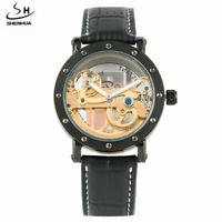 SHENHUA Transparent Skeleton Mens Automatic Mechanical Watch Leather/Steel Band