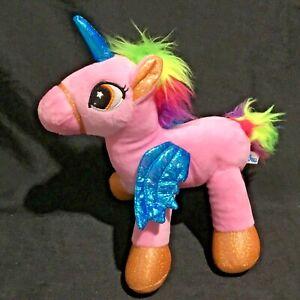 Unicorn Pink Plush Stuffed Toy 27cm tall by Elka Australia rainbow hair