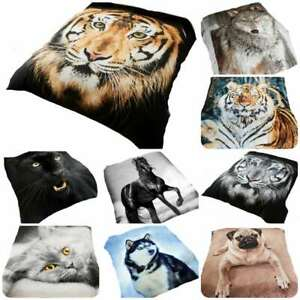 3D Animal Print Effect Mink Faux Fur Throw Fleece Blanket Soft Warm Bed Sofa
