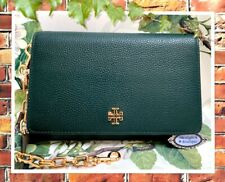 NWT TORY BURCH CARTER Chain WALLET Crossbody Bag In JITNEY GREEN Leather Gold