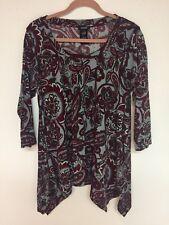 Premise Women's 3/4 Sleeve Printed Sharkbite PAISLEY Design TUNIC Top Size XL