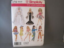 """Uncut Simplicity 4719 Doll Clothes Pattern for 11 1/2"""" Fashion Dolls"""