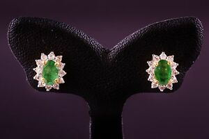 SOLID 9K GOLD w. genuine DIAMOND and EMERALD STUD EARRING