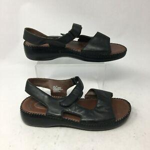 Dr scholls Ellen Slingback Sandals Womens 10 Casual Flats Open Toe Leather Black